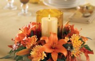 Inspiring Thanksgiving Table Decoration For Successful Celebration : Beautiful Thanksgiving Table Decorations Orange Theme Small Flower And Candle Center Piece Lily Carnation Simple Pretty Warm Colors