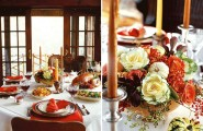Inspiring Thanksgiving Table Decoration For Successful Celebration : Beautiful Thanksgiving Table Decorations Orange Yellow White Theme Tall Candle Sticks Rose Small Pumpkin Wild Berries Flower Arrangement As Center Piece