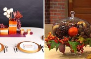 Inspiring Thanksgiving Table Decoration For Successful Celebration : Beautiful Thanksgiving Table Decorations Pine Cones Red And Gold Christmas Ball Ornament Inside Classic Cake Stand With Clear Glass Cover Oak Leaves Berries Accent