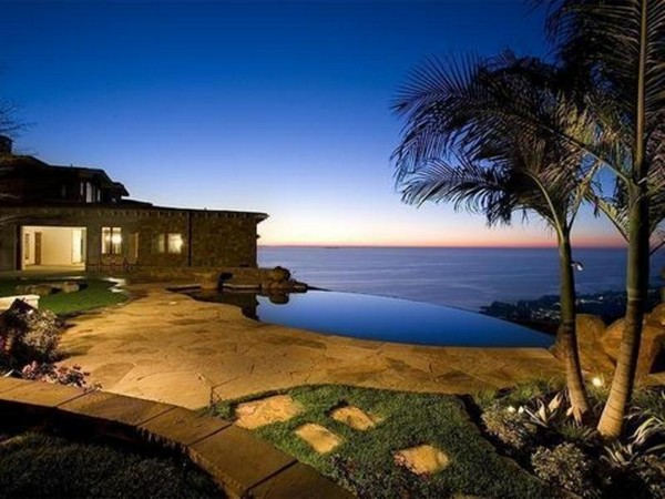 Spectacular Infinity Pool 2: Beautiful Villa With Spectacular Contemporary Infinity Pool Design With Nature Stone Flooring Open Sea View Ideas ~ stevenwardhair.com Chairs Inspiration