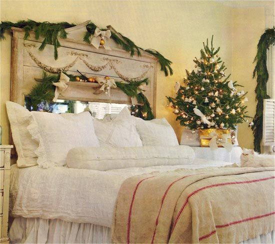 Beautiful Christmas Tree Decorating Ideas: Beautiful Vintage Bedroom Small Christmas Tree Decorations Ideas With Large Headboard Bed