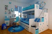 Space Saving Ideas: Various Bunk Beds Design Ideas : Beautiful White Blue Teen Bedroom Interior Design With White Bunk Beds And Blue Scheme Round Rug On Wooden Flooring Idea