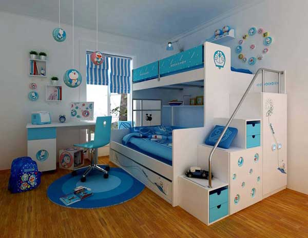 Space Saving Ideas: Various Bunk Beds Design Ideas: Beautiful White Blue Teen Bedroom Interior Design With White Bunk Beds And Blue Scheme Round Rug On Wooden Flooring Idea