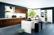 Kitchen Island Designs Adds A Modern Touch To Your House : Beautiful White Color Modern Kitchen Island Design 2 With Seats Wooden Cabinet White Cabinet Plants Flooring Ideas
