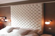 Awesome Padded Wall Panel Design As A Wall Decor Ideas : Beautiful White Color Padded Wall Panels In Bedroom With Wall Lamps Ideas