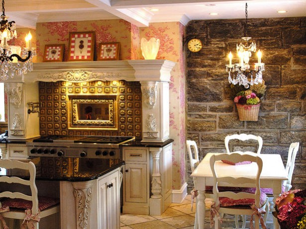 Perfect Chandelier For Your Dining Room: Beautiful White Pink Traditional Kitchen With Very Ornate French Style Chandeliers In Dark Gold Or Bronze Finishes Strung With Crystals Or Jewels As Fancy All Glass Chandeliers ~ stevenwardhair.com Dining Room Design Inspiration