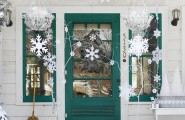 Front Porch Christmas Decorating Ideas : Beautiful White Stars Christmas Exterior Decorations Ideas On Front Porch Of Green Door And Window Of White Wooden House Design