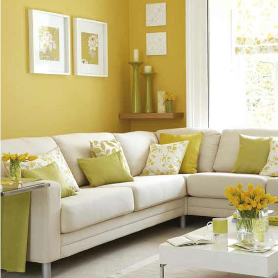 Sunny Yellow Paint Colors Make Your Living Room Feels Warm: Beautiful White Yellow Living Room Decoration With White L Shape Sofa And White Window