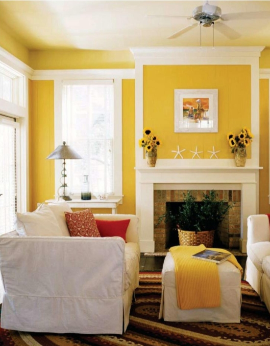 Sunny Yellow Paint Colors Make Your Living Room Feels Warm: Beautiful White Yellow Modern Living Room Design With White Window And Trim And Indoor Plants At Fireplace