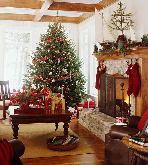 Beautiful Living Rooms Christmas Decoration Ideas: Beautiful Wooden Beam Ceiling And Flooring Living Room Christmas Decorating Ideas With Red Ribbon Christmas Tree And Wooden Frame Fireplace With Stocking