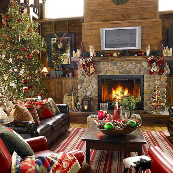 Beautiful Living Rooms Christmas Decoration Ideas: Beautiful Wooden Wall Living Room Christmas Decoration With Xmas Tree Wreath And Stocking On Nature Stone Fireplace Frame With Leather Sofa On Stripes Rug