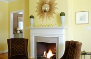 Sunny Yellow Paint Colors Make Your Living Room Feels Warm : Beautiful Yellow Scheme Living Room Decoration With Brown Sofa And White Fireplace Ideas