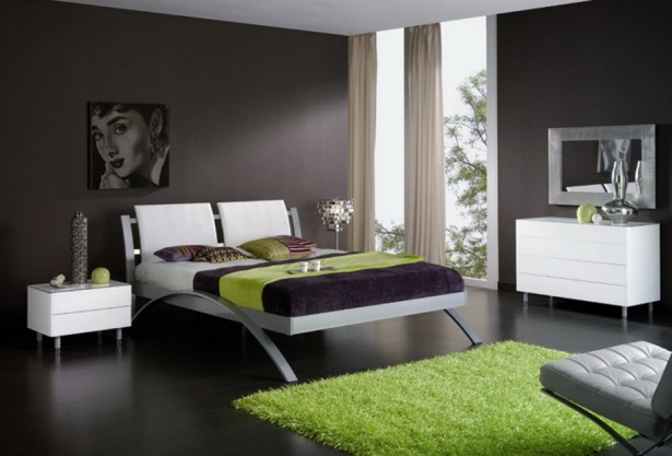 Sleek Bedroom Decor Ideas With Integrated Room: Bedroom Design With Green Wool Carpet With Extraordinary Black Wooden Floor Ideas And Lime Green Rug Grey Steel Bed Frame Bend Bed Legs ~ stevenwardhair.com Bed Ideas Inspiration