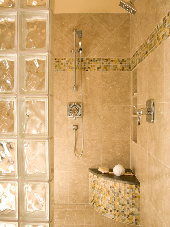 Interesting Photos Of Glass Block Showers : Bench In Shower With Small Tile And Arched Glass Block Shower Enclosure Generously Sized For Two Features Dual Brizo Shower Heads And A Corner Seat