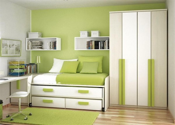 Best Paint Colors Ideas For Beautiful Green Color Small Bedroom Design With Bed Pillow Bedcover Chest Of Drawer Book Shelves Table Chair Lamp Carpet Cabinet