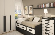 Paint Colors For Small Bedroom Ideas : Best Paint Colors Ideas For Beautiful Light Gray Color Modern Small Bedroom Design With Dark Furniture Bed Pillow Bedcover Chest Of Drawer Book Shelf Closet Lamp Rug Wooden Flooring