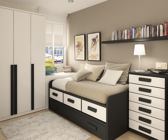 Paint Colors For Small Bedroom Ideas: Best Paint Colors Ideas For Beautiful Light Gray Color Modern Small Bedroom Design With Dark Furniture Bed Pillow Bedcover Chest Of Drawer Book Shelf Closet Lamp Rug Wooden Flooring