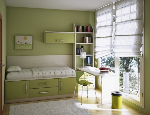 Paint Colors For Small Bedroom Ideas : Best Paint Colors Ideas For Beautiful Soft Green Color Small Bedroom Design With Bed Chest Of Drawer Book Shelves Table Chair Curtain Rug Wooden Flooring