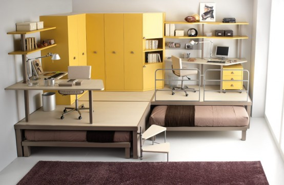 Colorful Bright Teenage Loft Bedrooms: Big Yellow Teenage Loft Decoration With Inspiration Study Desk Yellow Dressing Cabinet Anf Folded Bes With Fur Rug And Bay Window