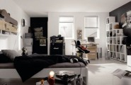 Teenage Cozy Modern Compact Bedroom : Black And White Boys Bedroom Inspiration Bold Color Combination Teenage Kids Bedroom With Black Combination Drawers With Study Table And Black Wall And Bookshelf