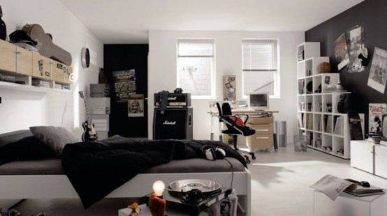 Teenage Cozy Modern Compact Bedroom: Black And White Boys Bedroom Inspiration Bold Color Combination Teenage Kids Bedroom With Black Combination Drawers With Study Table And Black Wall And Bookshelf ~ stevenwardhair.com Bedroom Design Inspiration