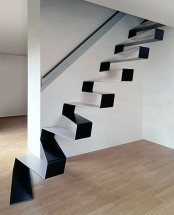 Cool Spiral Staircase Designs : Black And White Flat Design Rippling Ribbon Staircase