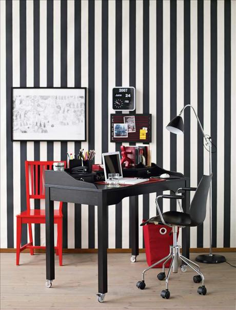 Colorful Home Office Design Ideas : Black And White Hom Eoffice With Red Accents
