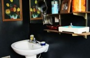 Black Bathroom Design Ideas For Adult : Black Colorful Bathroom Design Ideas Colorful Decoration And Hanging Cabinet With Picture Wall Accessories Washbasin