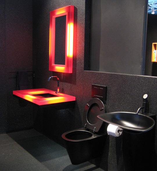 Black Bathroom Design Ideas For Adult: Black Gothic Retro Bathroom Interiordesign Ideas With Custom Light For Irror And Washbasin With Unusual Wall Decoration And Black Closet ~ stevenwardhair.com Bathroom Design Inspiration