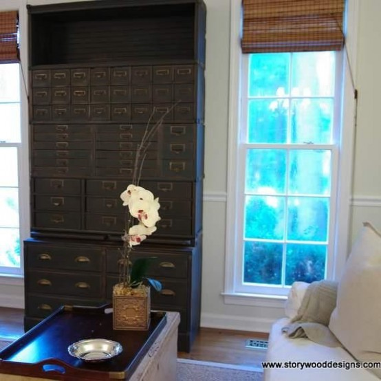 Simple But Smart Living Room Storage Ideas : Black High Storage Decoration To Save The Space With A Traditional Bookcase And Open Shelves Interior With Great Light And View With Bay Window And Whitte Sofa And Curtain