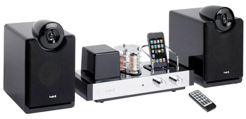 Sleek Modern and Inovative Iphone Dock: Black Lacquer Finish Along With A Swank Tube Amplifier Iphone Dock