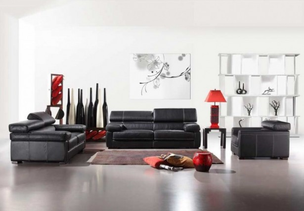 Glamourous Stylish Italian Furniture With Astonishing Details: Black Sofa Set Of Modern Italian Furniture Set With A Dazzling Selection Of Flooring Materials And Table Lamps ~ stevenwardhair.com Bedroom Design Inspiration