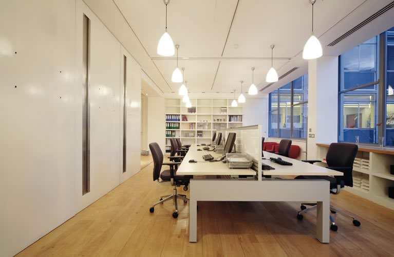 Beautiful Office Interior Designs in Modern Concept: Black Swivel Chairs Simple Chandeliers White Bookshelves White Desk