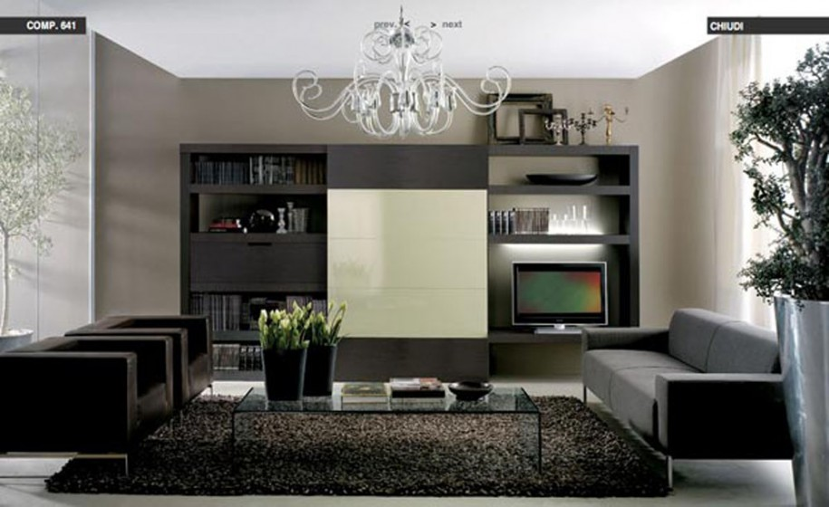 Comfortable Living Room Ideas for Modern Design : Black Twin Sofa And Grey Sofas Dark Grey Rug Glass Table Curved Chandelier Brown Wall Black Bookshelves White Ceiling White Curtain