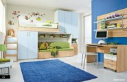 Amazing Trendy Bold Color Comfy Kids Room : Blue Kids Bedroom With Sky Blue And Soft Blue Combined With Green As Accent Bunk Be To Create Spacious Room