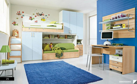 Amazing Trendy Bold Color Comfy Kids Room: Blue Kids Bedroom With Sky Blue And Soft Blue Combined With Green As Accent Bunk Be To Create Spacious Room