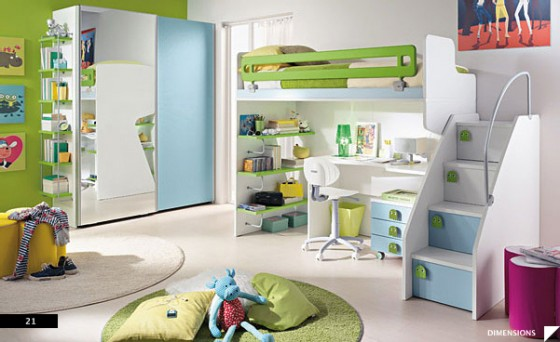 Amazing Trendy Bold Color Comfy Kids Room : Blue White Green Modern Kids Room With Bunk Bed And Large Mirror To Create Spacious Room And Two White And Green Round Carpets As Accent Marble Floor Design