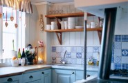 Kitchen Dining Room Design Ideas : Bluecolored Country Kitchen With Cute Cutter On Shelves Small Kitchen With A Framed Window And Beautiful Elegant Pine Table Kitchen With Hangging Wood Cabinets