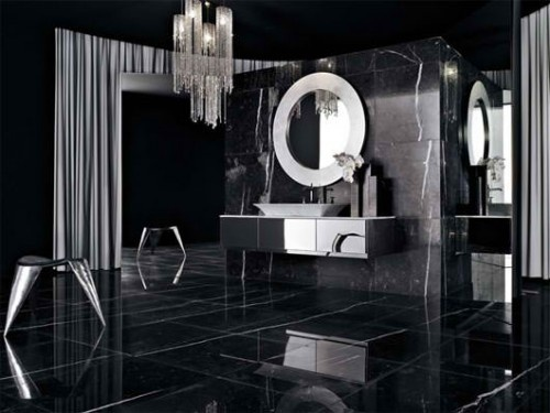 Black Bathroom Design Ideas For Adult: Bold Black Bathroom Design Ideas With Unforgettable Black Marble Wall And Floor With Nice Washbasin With Charming Pendant ~ stevenwardhair.com Bathroom Design Inspiration