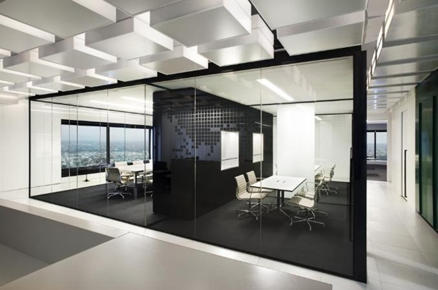 Beautiful Office Interior Designs in Modern Concept: Bold Black Room Divider Black Floor White Chairs White Table Hidden Lamps