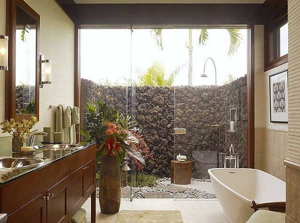 Breathtaking Bathroom Design Ideas You'll Love: Bold Breathtaking Design Of Bathroom Ideas With Hawaii Inspired Tropical Style And Big Glass Wall Nic View Cotemporary Dressing Table