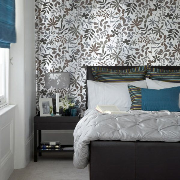 ... Breathtaking Blue And Gray Bedrooms For Romantic Person : Bold Brown  And White Vines Wallpaper Simple ...