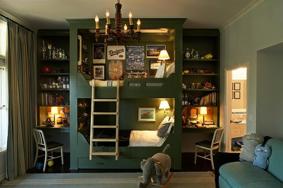 Teenage Cozy Modern Compact Bedroom: Bold Inspired Shared Boys Bedroom With Bunk Beds With Two Built In Wood Cabinet With Study Table And White Strair Ad Blue Cozy Sofa