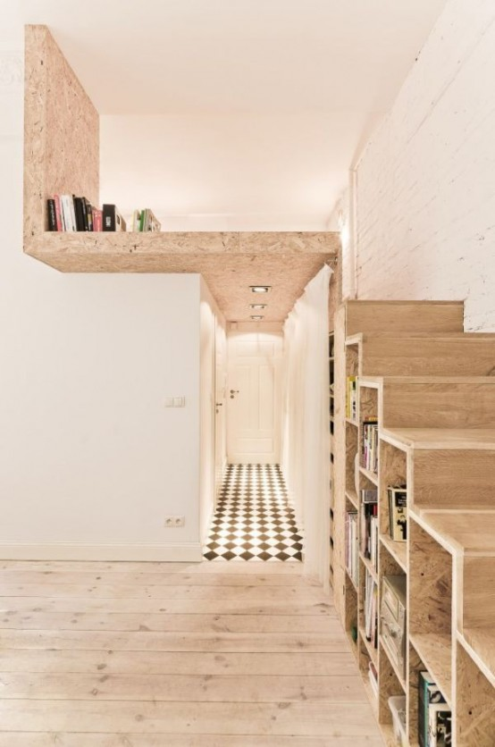 Smart And Creative Design Of Small Apartment: Bold Smart And Creative Apartment With Wooden Staircase With Hidden Built In Closet Using Parquet