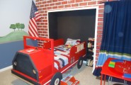 Cool Ways To Decorate A Room : Boys Bedroom With A Firetruck Bed With Break Red Wall