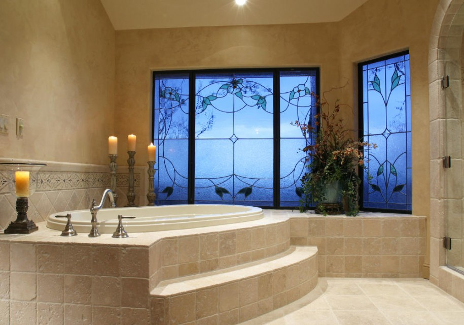 Breathtaking Bathrooms With Amazing Personality: Breathtaking Bathrooms With Amazing Personality With Blue Windows Cream Wall Amazing Bathrooms With Candles
