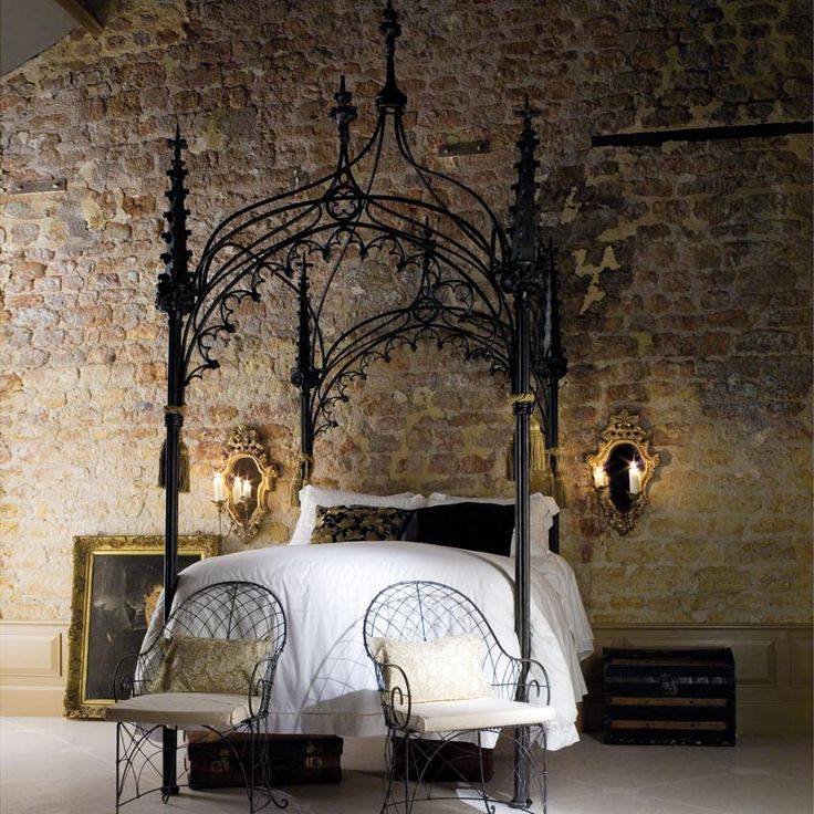 Flaunt Your Bedrooms with Decorative Canopy Beds (part-1): Breathtaking Bedroom Design With Iron Gothic Canopy Bed And Classic Bed Design