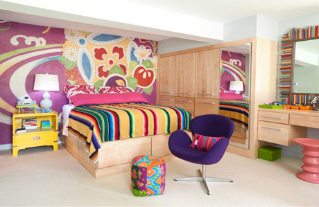 Bold Bright and Colorful Basement Bedroom Design : Breathtaking Cheerful And Energizing Bright Basement Bedroom Design With Striping Colorfu Bed Shhet With Laminated Wood Wall