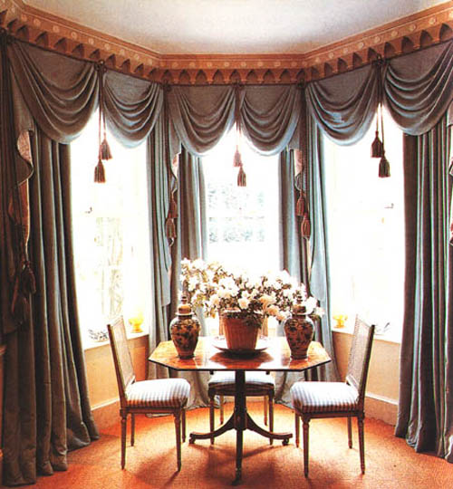 Amazing Popular Modern Windows Curtain Style: Breathtaking Classic Style Curtain Designs For Windows Gray Color Ideas Wirh Round Table With Flower Vases Decoration ~ stevenwardhair.com Design & Decorating Inspiration