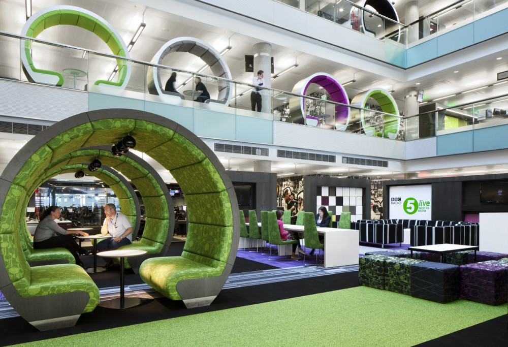 Breathtaking, Creative And Colorful BBC North Office : Breathtaking Colorful Meeting Pod Design In Atrium Open Space Of BBC North Office
